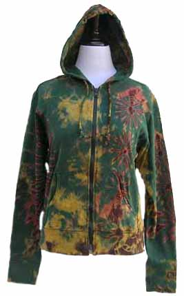 tie-dye hooded jacket in subdued colors