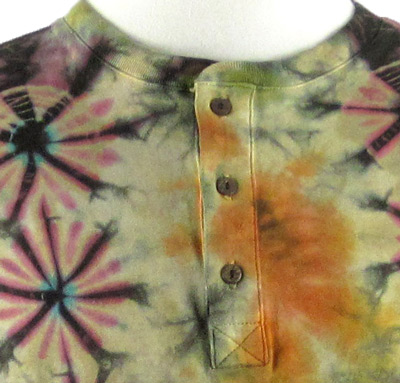 black-multi-colored mudmee tie dye long sleeve henley shirt