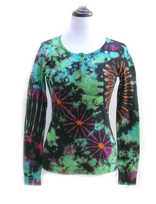 Unique women 39 s henley shirts tie dye as wearable art for How to wash tie dye shirt after dying