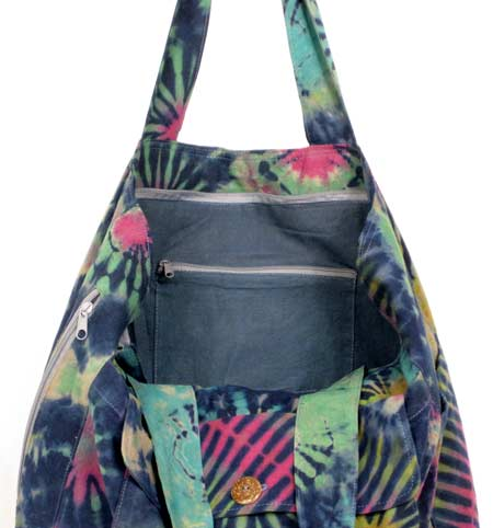tie-dye tote bag inner zippered compartment