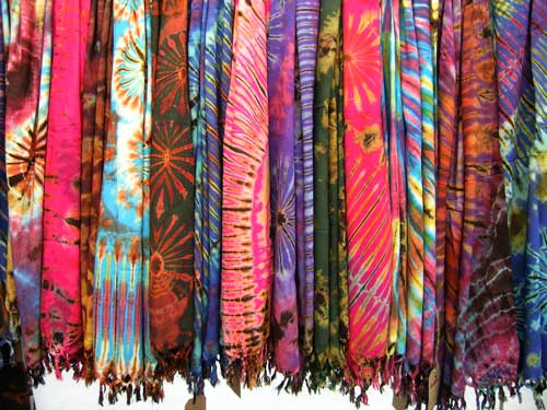 Collection of Mudmee tie dye scarves