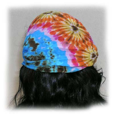 back view unfolded mudmee tie-die hairband