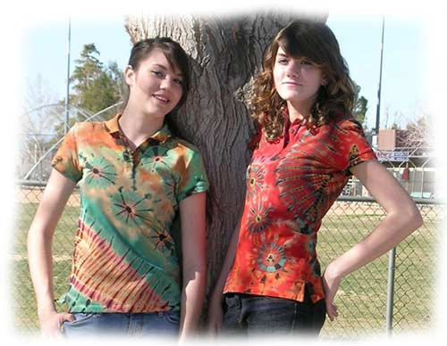 Destinee and Danica in mudmee tie dye polo shirts