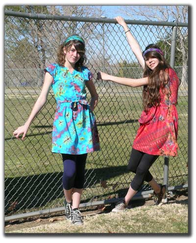 Danica and Destinee in cute teen dresses