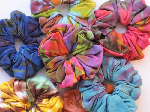 collection of tie-dye scrunchies