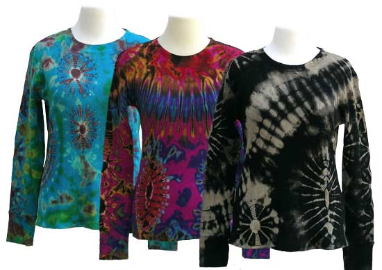 Unique Thermal Shirts, Long Sleeve - Tie Dye as Wearable Art
